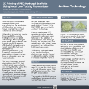 3D Printing of PEG Hydrogel Scaffolds Using Novel Low Toxicity Photoinitiator 2018 SFB Poster_ JenKem