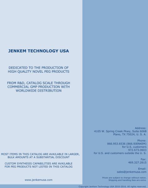 JenKem USA PEG Product catalog cover